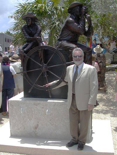 Photo of Simon Morris when Tradition was unveiled by HRH Prince Edward in Georgetown, Grand Cayman
